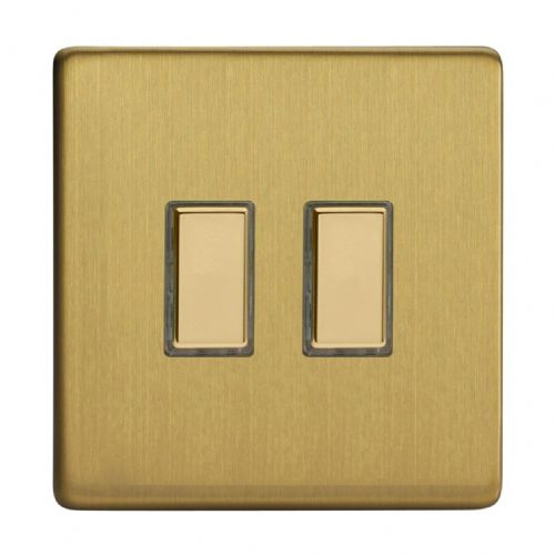 Varilight JDBES002S Screwless Brushed Brass 2 Gang Touch Dimming Slave (use with V-Pro Master)